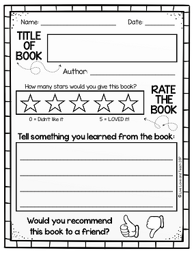 use as a writing or reading project book review or book report or offer as a reading center follow up would work great for daily 5 centers like read to