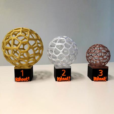Troféus 1º, 2º e 3º lugares - Quiz de perguntas Kahoot