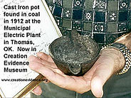 Iron pot found in clay disproves old earth