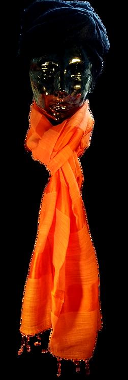 Orange Silke & Bomuld Tørklæde