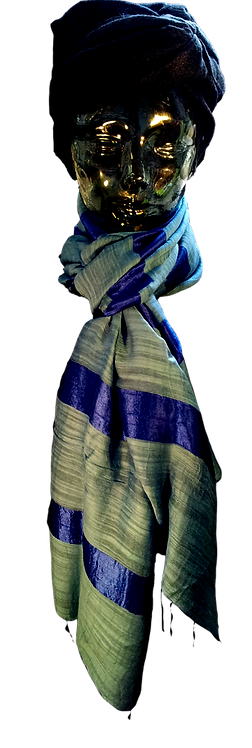 Blå Silke & Bomuld Tørklæde