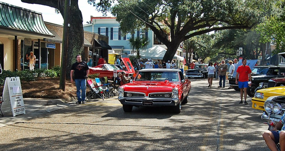 Cruisers line the streets of downtown Ocean Springs