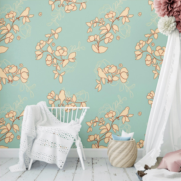 Nursery wallpaper of poppy branches patt