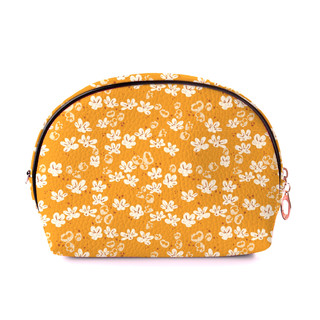 abstract floral pattern on cosmetic bag.