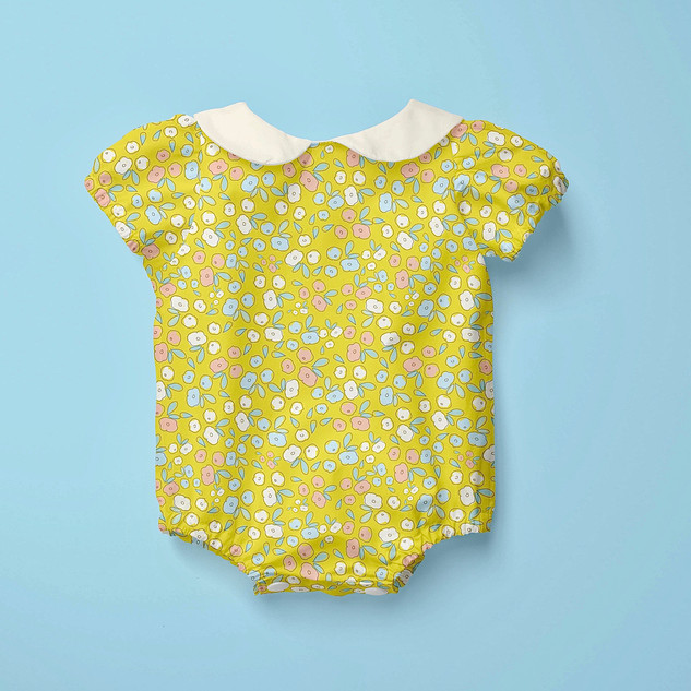 Yellow Dot Floral Pattern on summer baby romper