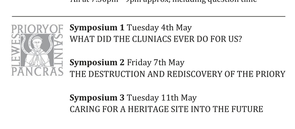Lewes Priory Zoom Symposia in May