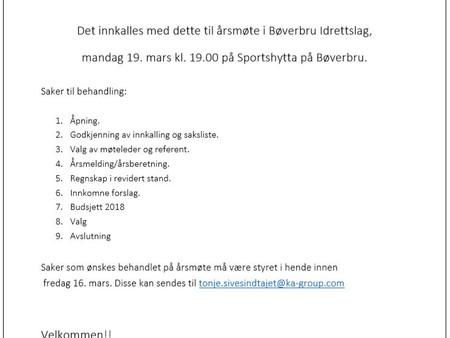 Årsmøte Bøverbru IL 2018