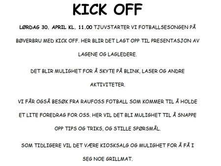 Velkommen til Kick Off!!