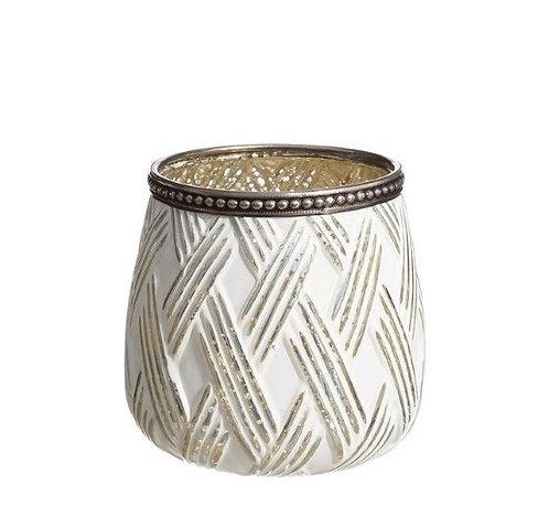 Bougeoir en verre blanc motif rayé
