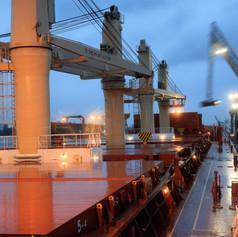 Сухогруз Молезон на разгрузке в порту Антверпена