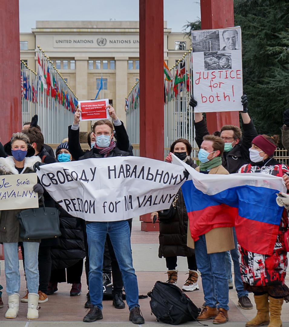 Акция в поддержку А.Навального в Женеве 23.01.21