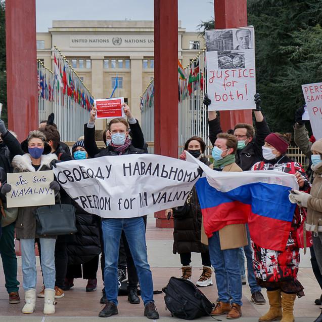 Акция в поддержку А.Навального. Женева. 23.01.2021