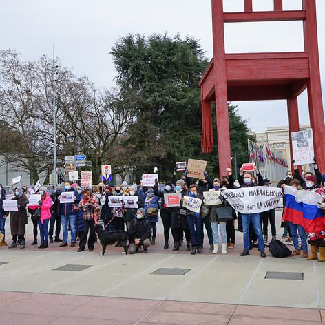 Акция в поддержку А.Навального в Женеве. 23.01.2021