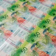 Печатный лист банкноты 50 франков; вид обратной стороны
