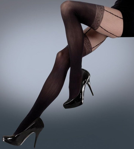 a6a8ac6f6 Silky Mock Lace Suspender Tights in Black