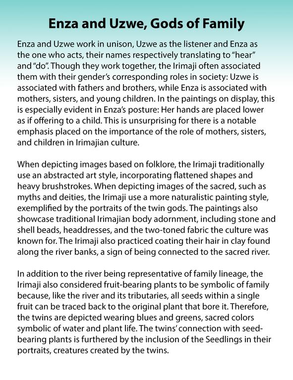 Enza and Uzwe, Gods of Family