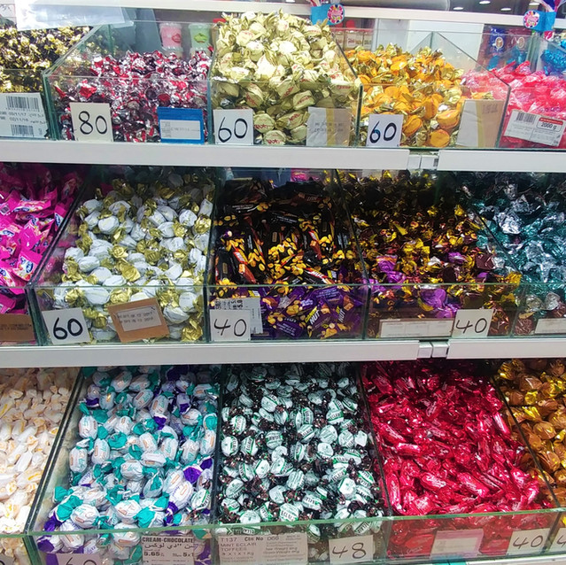 Rows of candy at Al-Qudsi Sweets