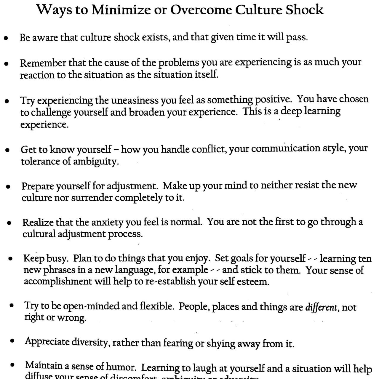 Ways to Minimize Culture Shock
