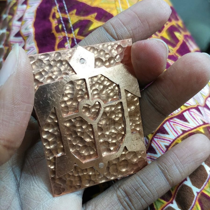 Copper turtle brooch