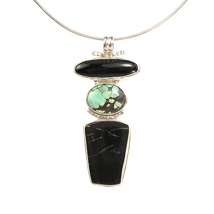 """Black and Turquoise """"Totem"""" Pendant"""