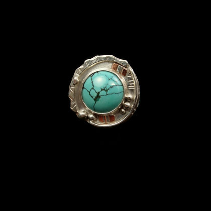 """Light Turquoise Mixed Metal Ring """"Butterfly"""""""