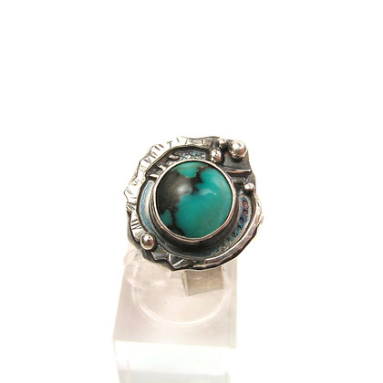 """Oxidized Silver & Turquoise """"North America"""" Ring"""