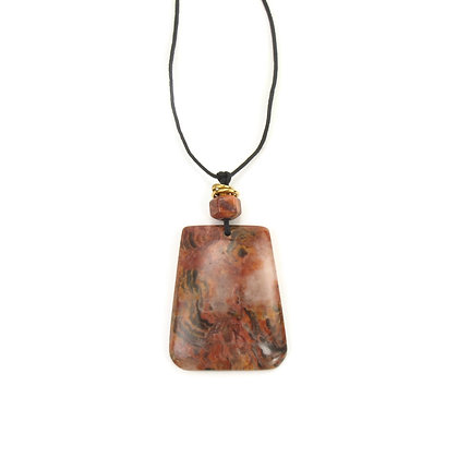 Peach Pink Agate Pendant 'Red Forest'