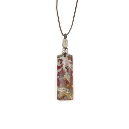 Burgundy Gray Stone Pendant 'Autumn Bloom'