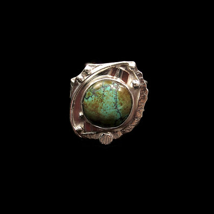 """Adjustable Olive TurquoiseRing """"Meadow Trail"""""""