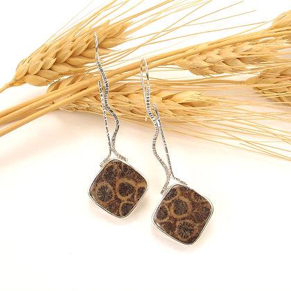 Fossil Coral Long Earrings 'Dandelions'