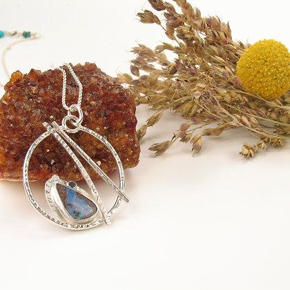 Circle Opal Pendant 'Mountain Frost'