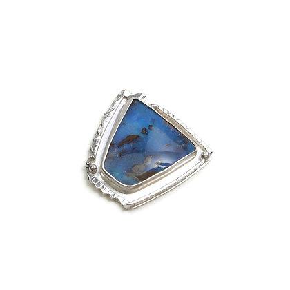 """Australian Blue Opal Silver Pin """"Mist Mountain"""""""