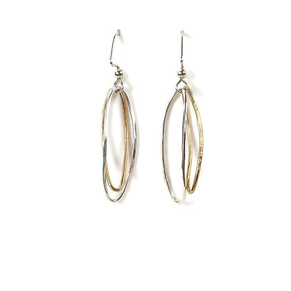 Brass & Silver Long Oval Hoop Earrings 'Open Leaf'