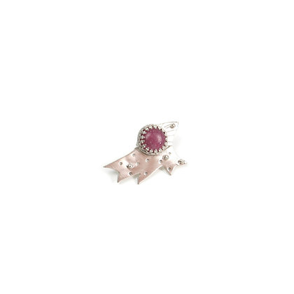 """Pink Silver Tie Tac Scatter Pin """"Wings of Summer"""""""