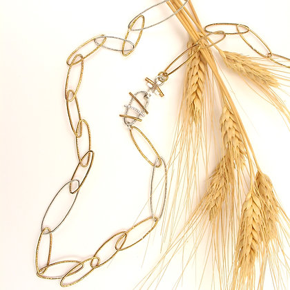 Gold Brass & Silver Handmade Chain 'Sun Rays'
