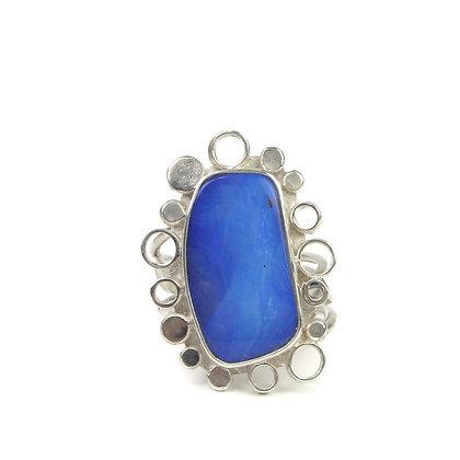 Intense Blue Opal 'Arctic Summer' Ring