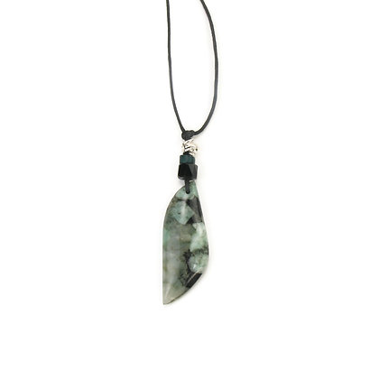 Green & Black Stone Pendant 'Frozen Leaves'