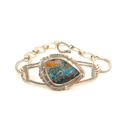 Australian Opal handmade cuff silver bracelet