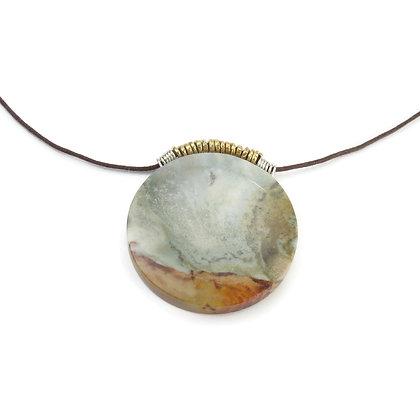 Round Gray Tan Stone Pendant 'Geyser Scape'