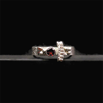 """Fire Citrine Mixed Metal Band Ring """"Blood Moon"""""""