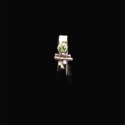 """Peridot Silver Band Ring """"August"""""""