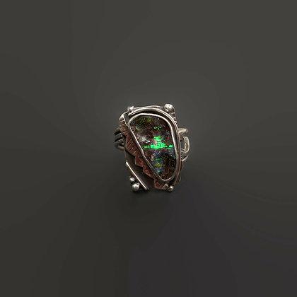 "Green Opal ""Bumpy Road"" Adjustable Ring"
