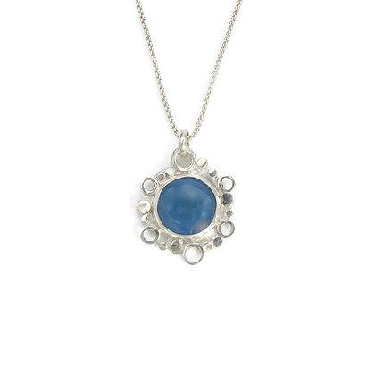 Blue Chalcedony Stone Pendants in Silver 'Cloud & Moon Flower'