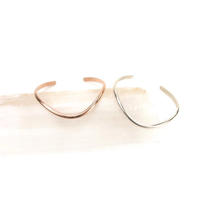 Rose Gold Fill & Silver 'Wave' Cuffs