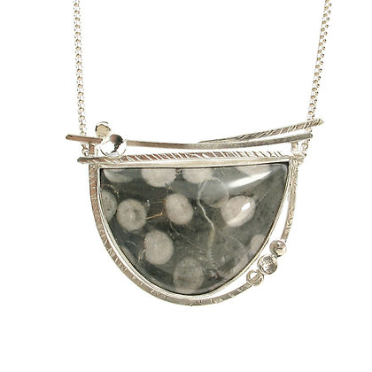 """Gray Fossilized Coral """"Frozen Blooms"""" Multi-Directional Pendant"""