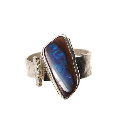 Australian Opal Blue White Ring 'Cloud Line'