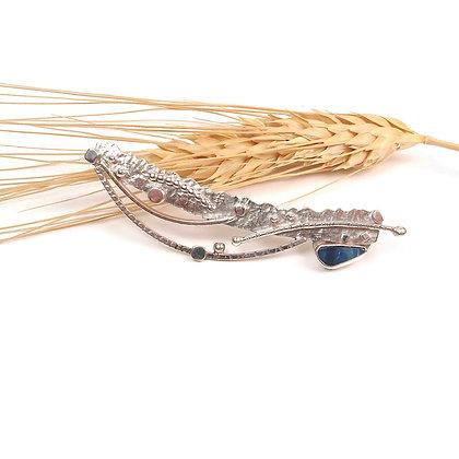 """Australian Blue Opal & Silver Long Pin """"Sunday Stroll"""""""