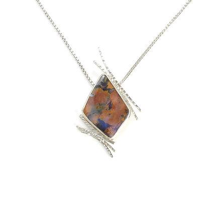 Australian Opal Rusty Blue Pendant 'Autumn Storm'