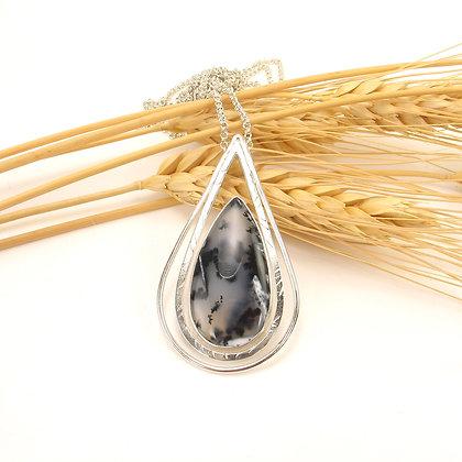 Black White Opal Teardrop Pendant 'Raven Valley'