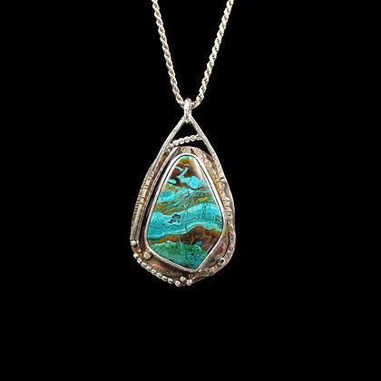 "Chrysocolla Malachite Cuprite ""Infinity River"" Pendant"